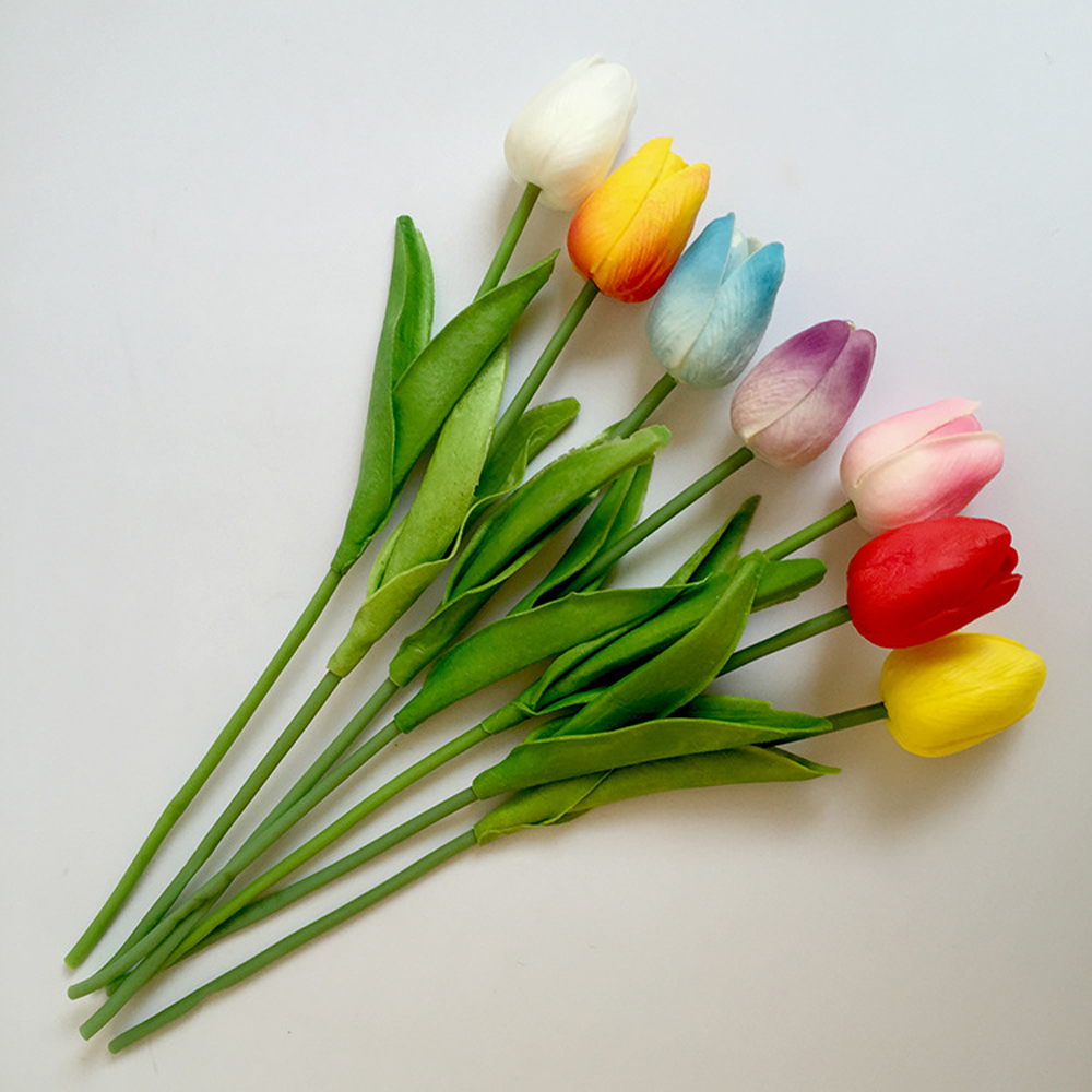 6 PCS Artificial Tulips Fake Flowers PU Flores Artificiales Para Decora O Mini Tulip for Home