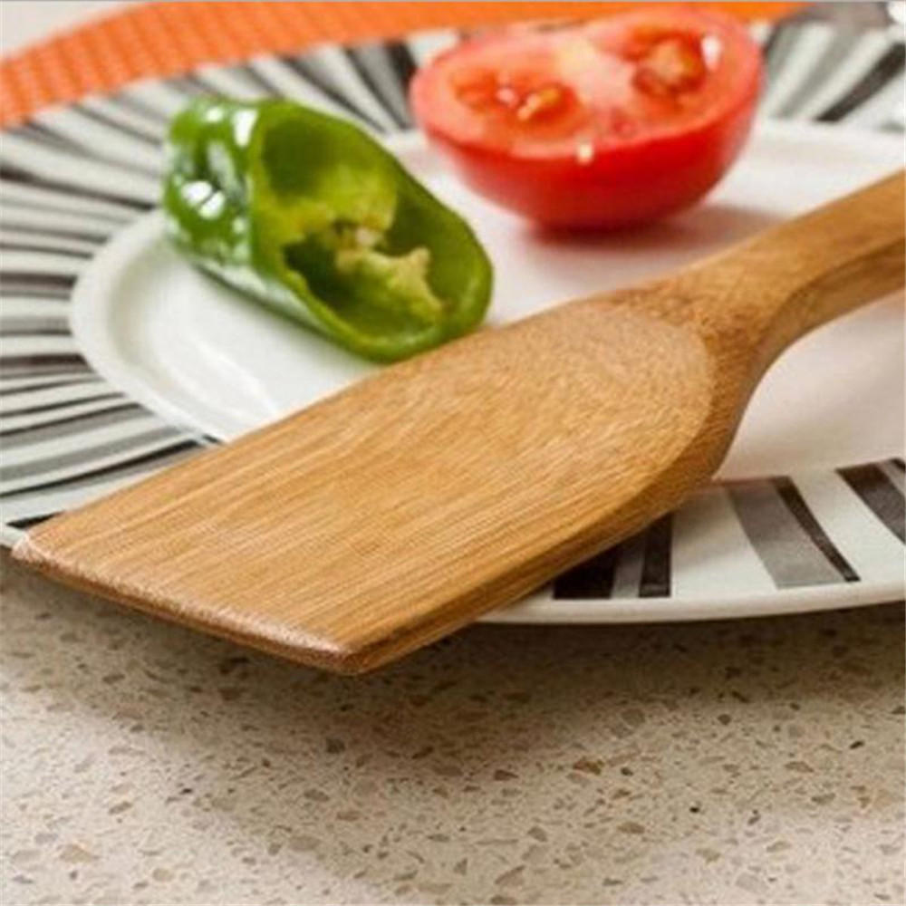 Natural Health Bamboo Wood Kitchen Slotted Spatula Spoon Mixing Holder Cooking Utensils Dinner Food Wok Shovels Supplies- Light Brown