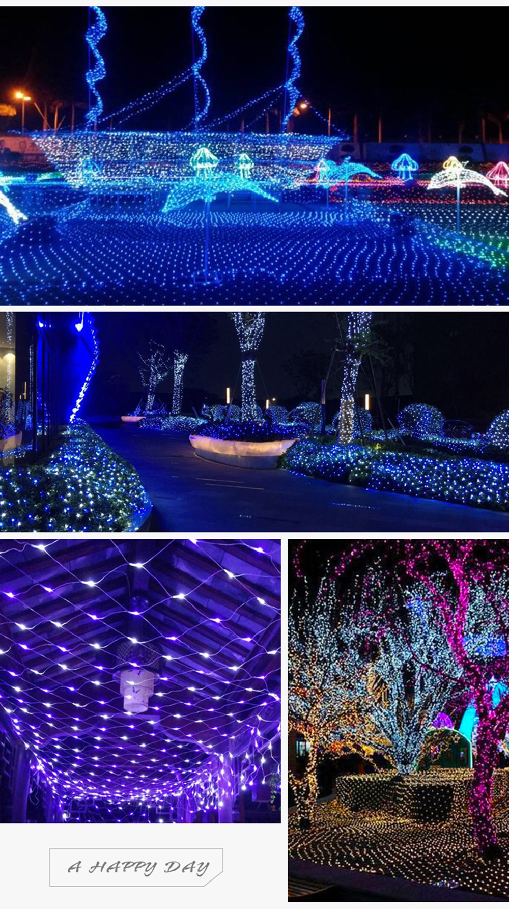 BRELONG 96LED Network lights 1.5m x 1.5m Outdoor waterproof star light string 220V EU