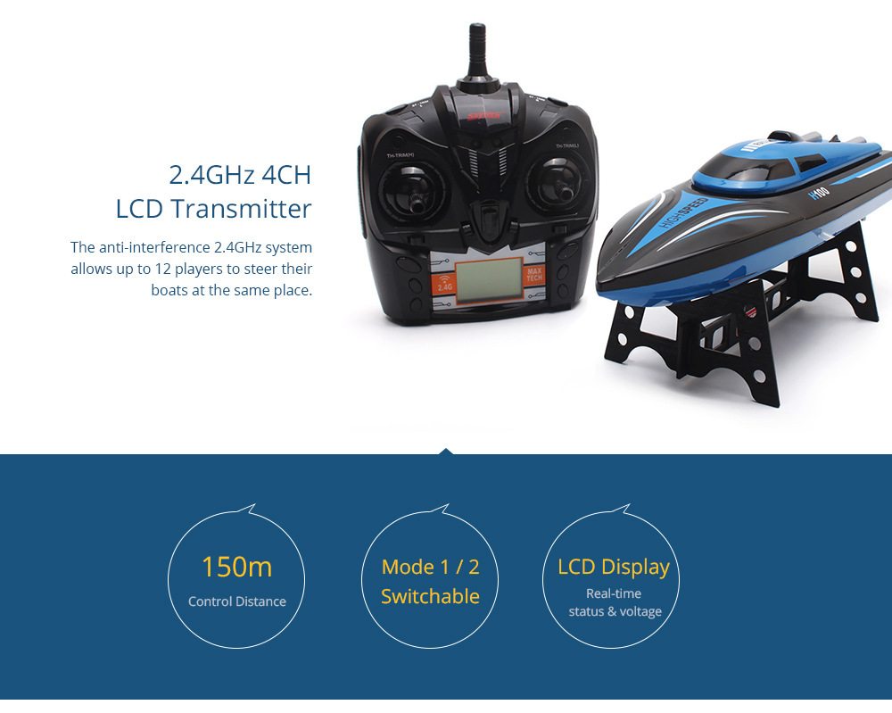 Skytech H100 Rc Racing Boat 3499 Free Shipping F1 Receiver Board Helicopter Spare Parts Circuit Hot Sell 24ghz 4 Channel High Speed With Lcd Screen Transmitter Blue