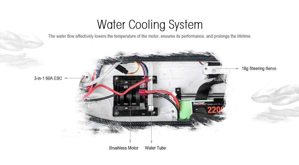 FeiLun FT011 2.4G RC Racing Boat Brushless Motor 55km/h Built-in Water Cooling System- Black and White and Red
