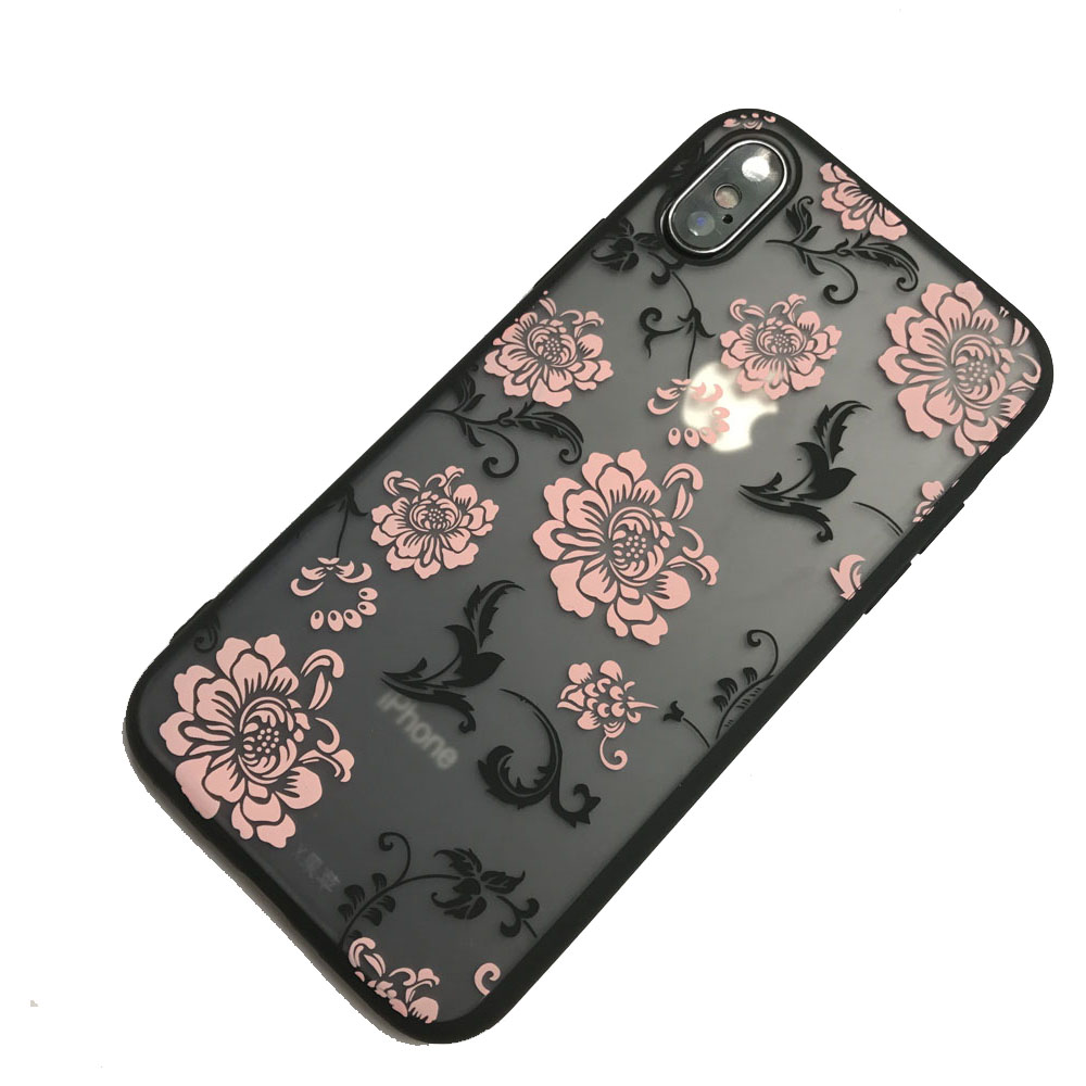 Case for iPhone X TPU + PC Flower Pattern Back Cover