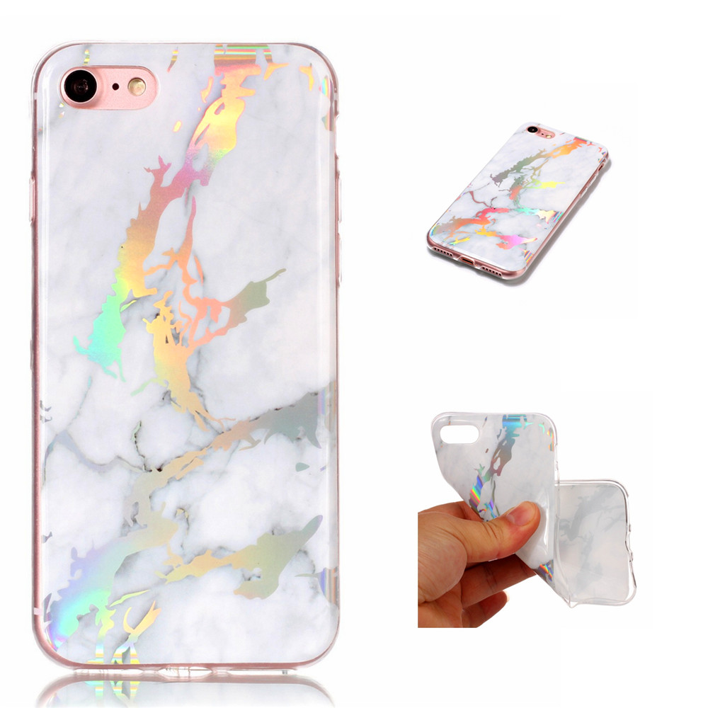 Fashion Color Plated Marble Phone Case For iPhone 7 Case Cover Luxurious Soft TPU Full 360 Protection Phone Bag