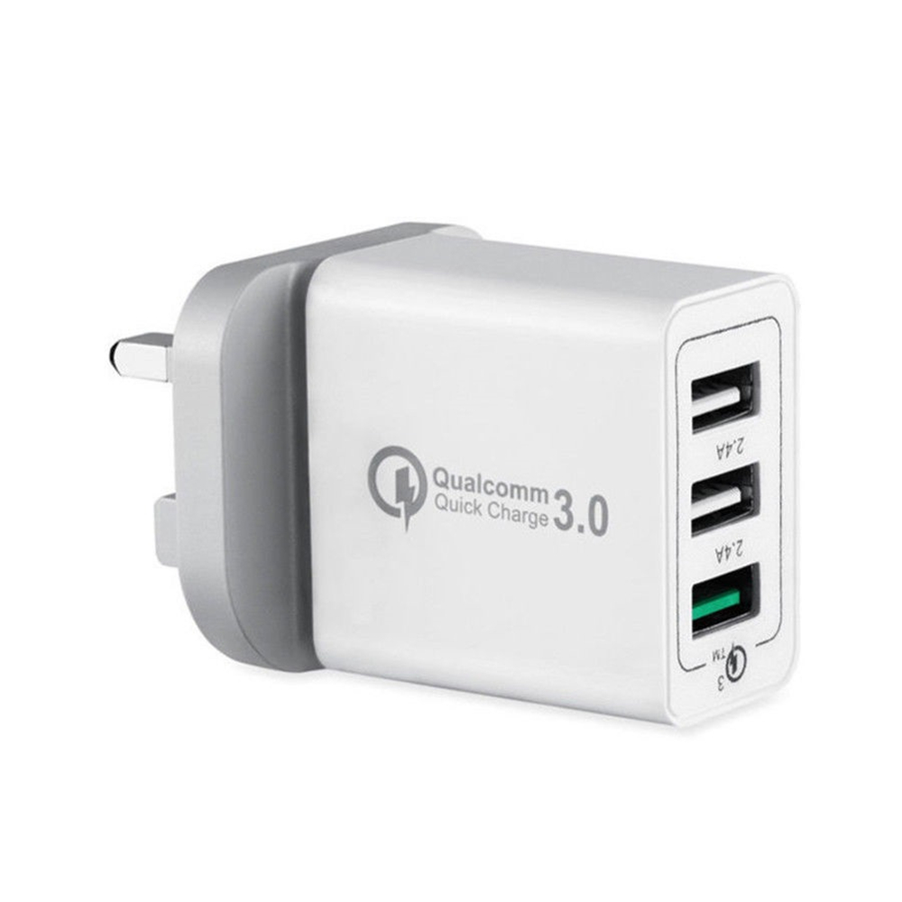 30W 3 Port Fast Quick Charge QC 3.0 USB Wall Charger Adapter