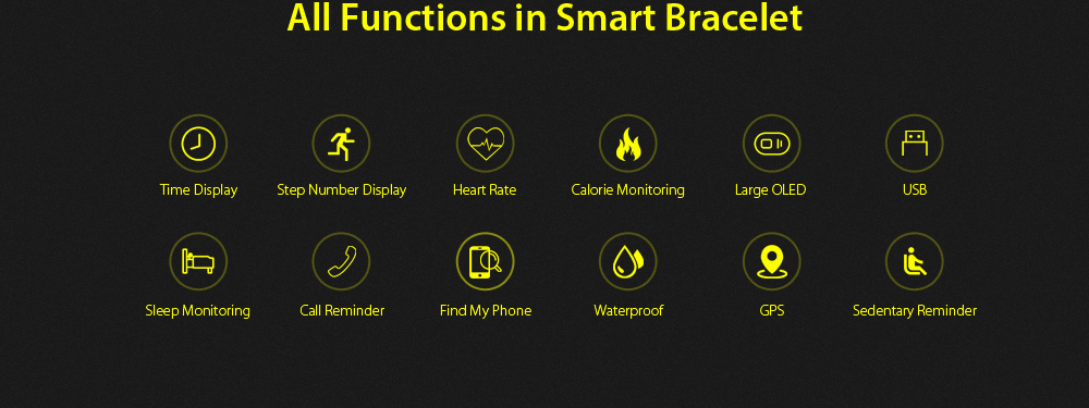 MPOW D6 Waterproof Fitness Tracker Smart Bracelet Heart Rate Sleep Monitor for iOS Android System