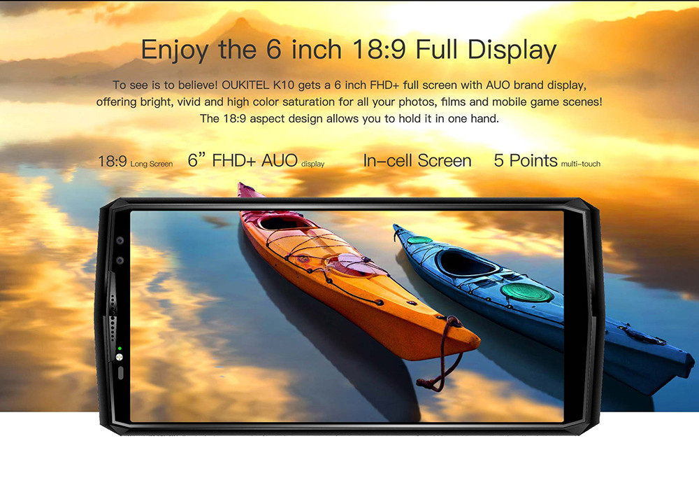 OUKITEL K10 4G Phablet 6.0 inch Android 7.0 MTK6763 Octa Core 2.0GHz 6GB RAM 64GB ROM 11000mAh Battery Quad Cameras Fingerprint Recognition
