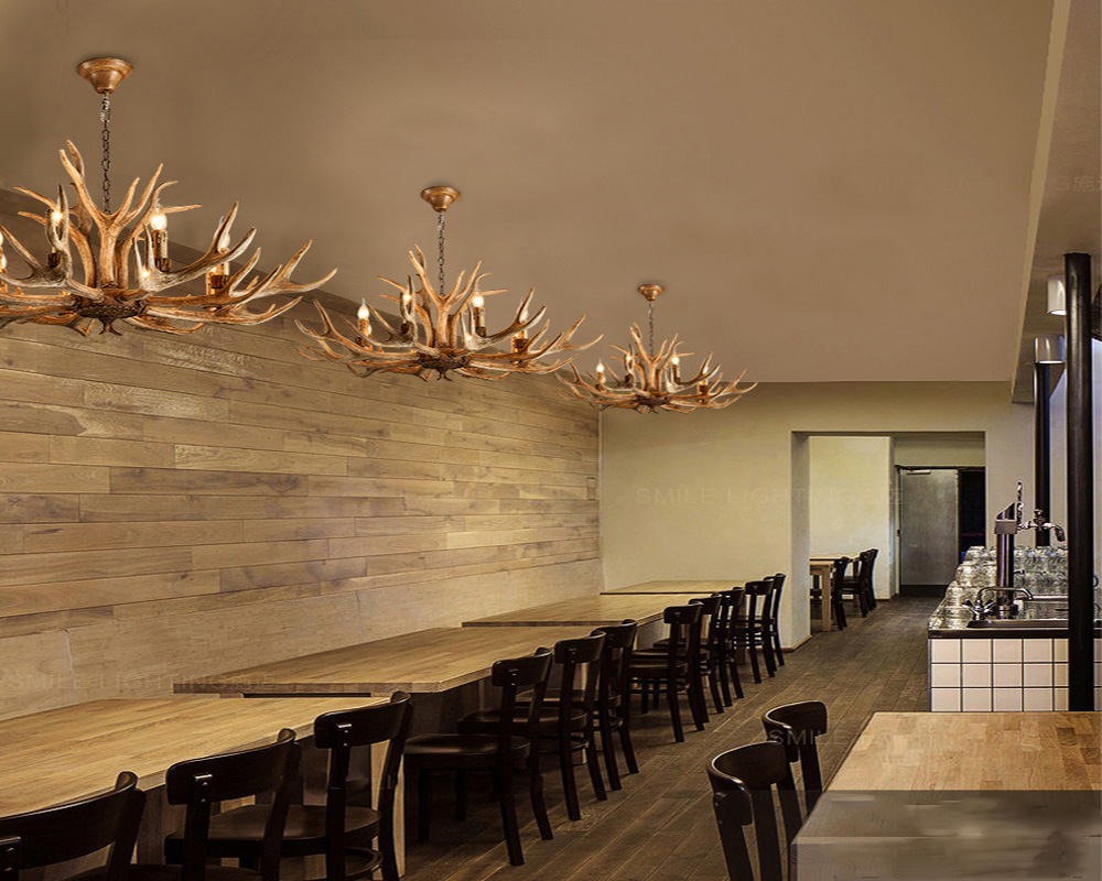 American Country Style Antler Chandeliers for Living Room Bedroom Nordic Restaurant Cafe Bars