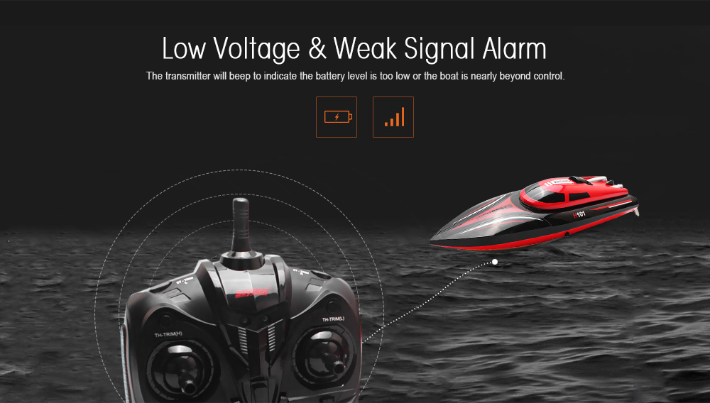 Skytech H101 2.4GHz 4-channel High Speed Boat with LCD Screen Transmitter- Red with Black