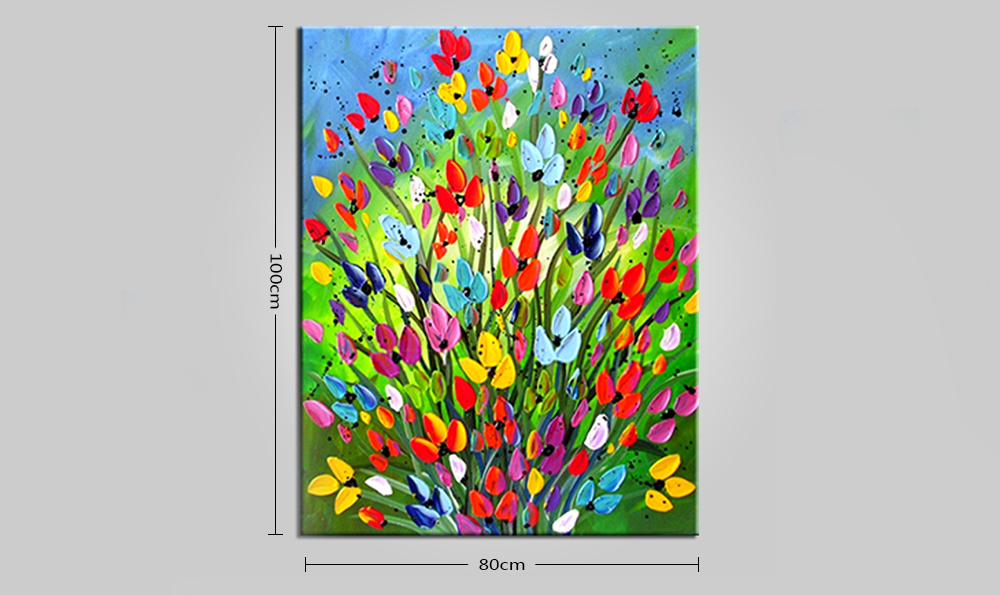 Mintura Hand Painted Flowers Oil Painting Canvas Hanging Artwork
