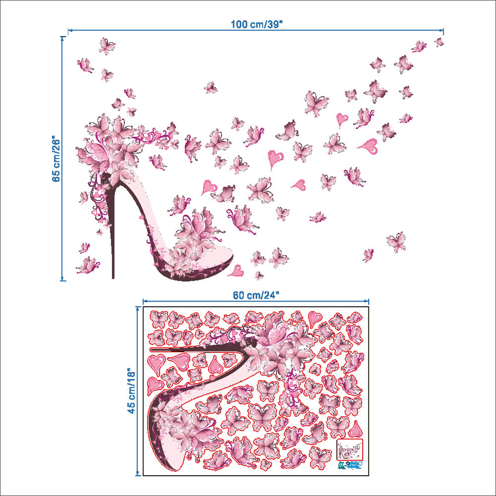 Pink Butterfly High Heels Wall Art Sticker Home Decoration Waterproof Removable Decals- Colormix