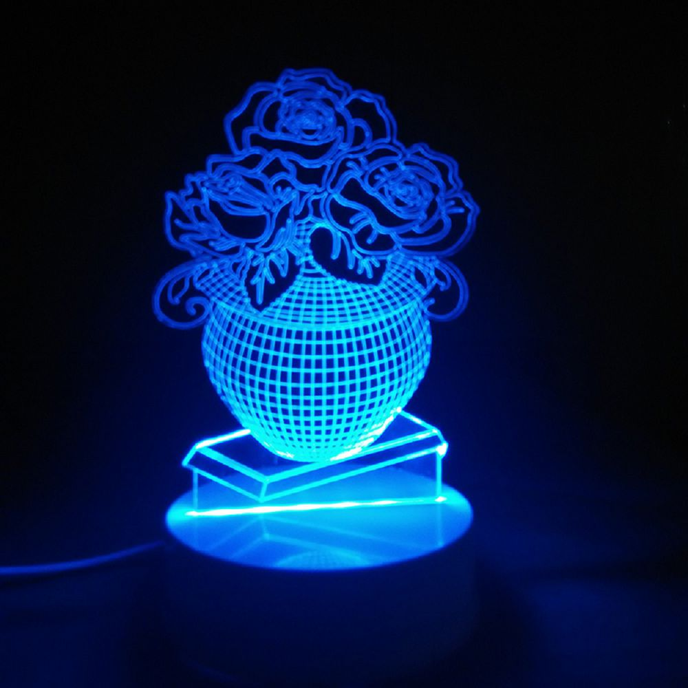 Potted Rose Flowers Shape LED Light Remote Control Full Color Night Lamps