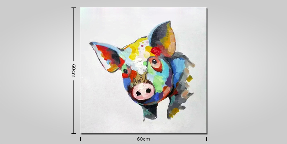 Mintura Hand Painted Pig Oil Painting Canvas Square Artwork