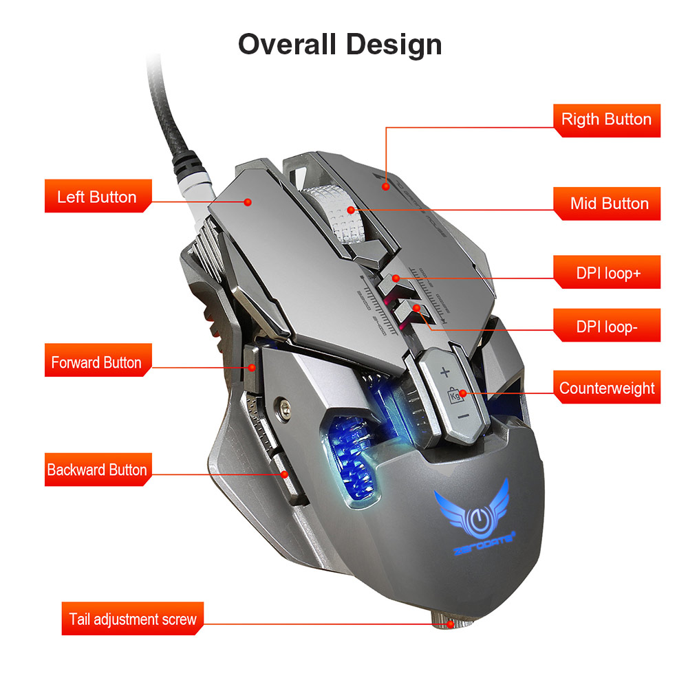 Zerodate x300gy wired gaming mouse with adjustable dpi 1649 free package contents 1 x mouse 1 x cd 1 x english user manual fandeluxe Gallery