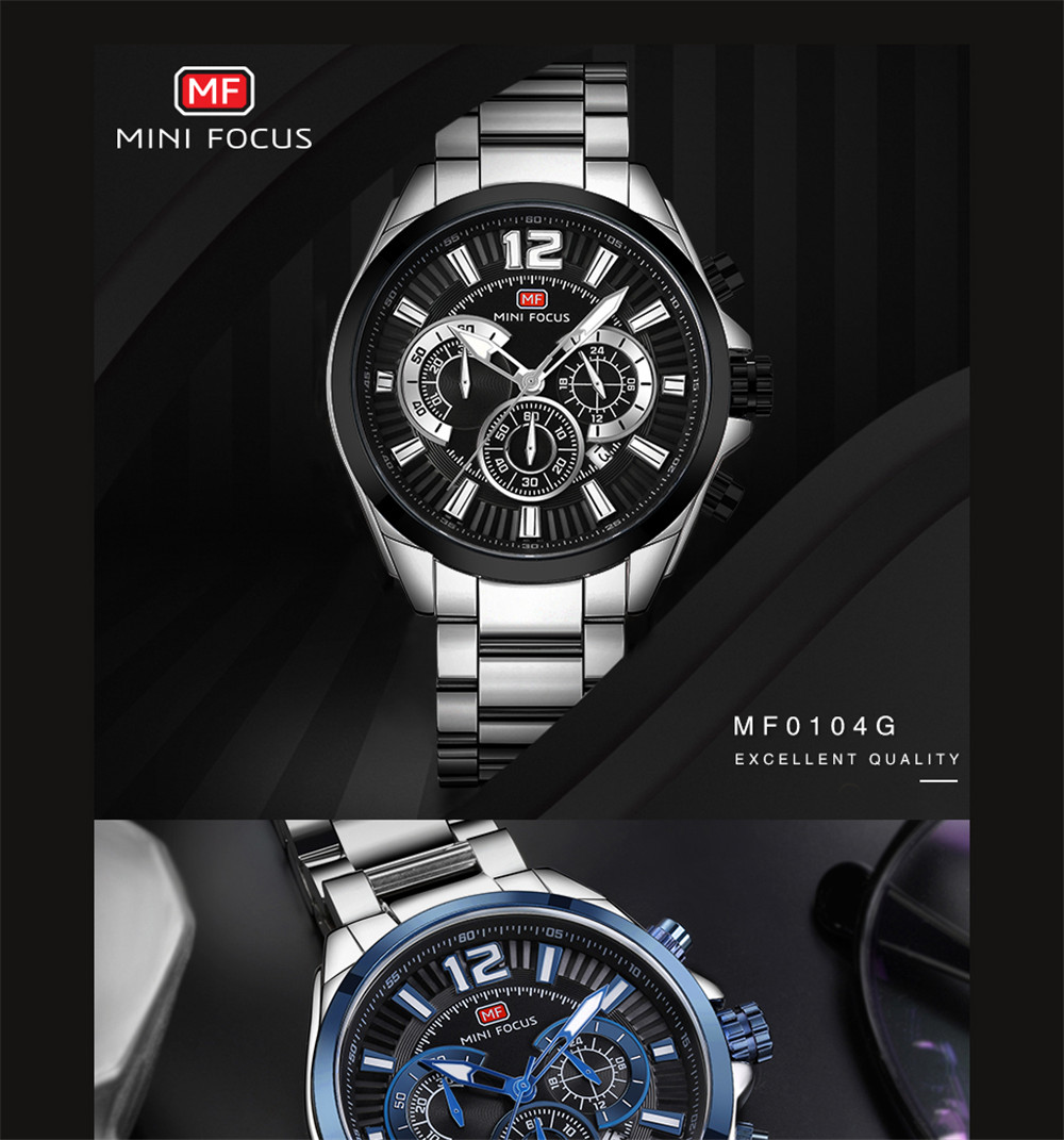 MINIFOCUS MF0104G 1299 Business Fashion Trend Really Small Three Sets of Men Waterproof Quartz Watch