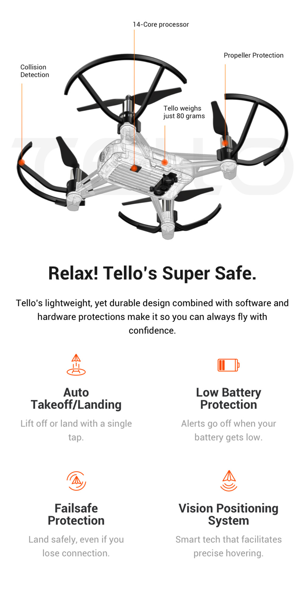 DJI Ryze Tello RC Drone HD 5MP WiFi FPV / Double Antennas / APP Control / Support VR Glasses Remote Control- White CN Plug, 1 Battery