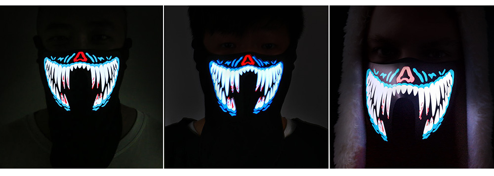 Dancing Party Cycling Breathable LED Face Mask Headwear with Voice-controlled Cold Light Film - Colormix