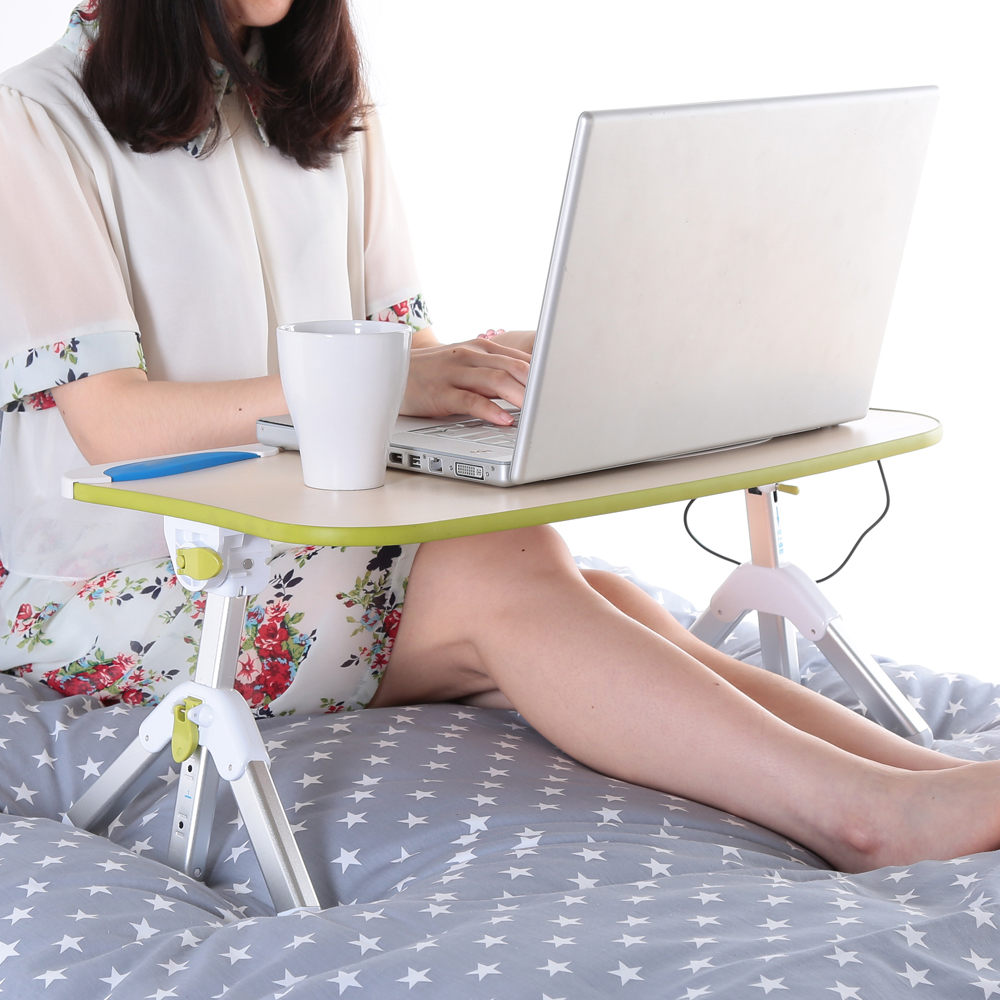 Adjustable Laptop Computer Bed Table Portable Standing Desk Foldable Sofa with USB Fan- White
