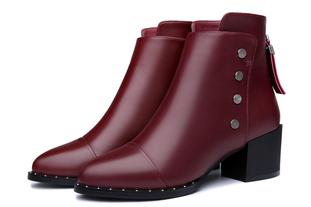 Female Thick and Short Tube Rivet Martin Boots