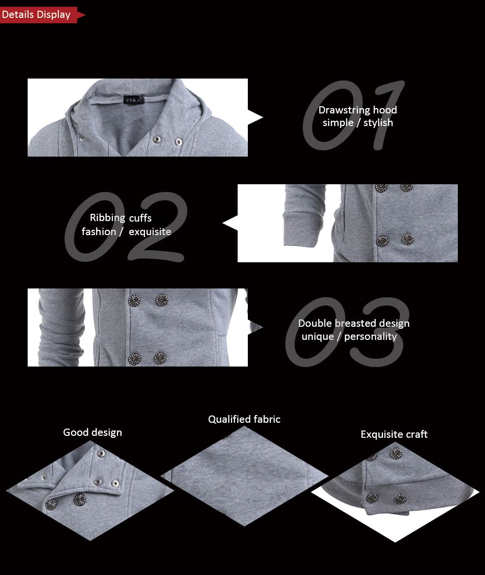 Male Double Breasted Hooded Jacket