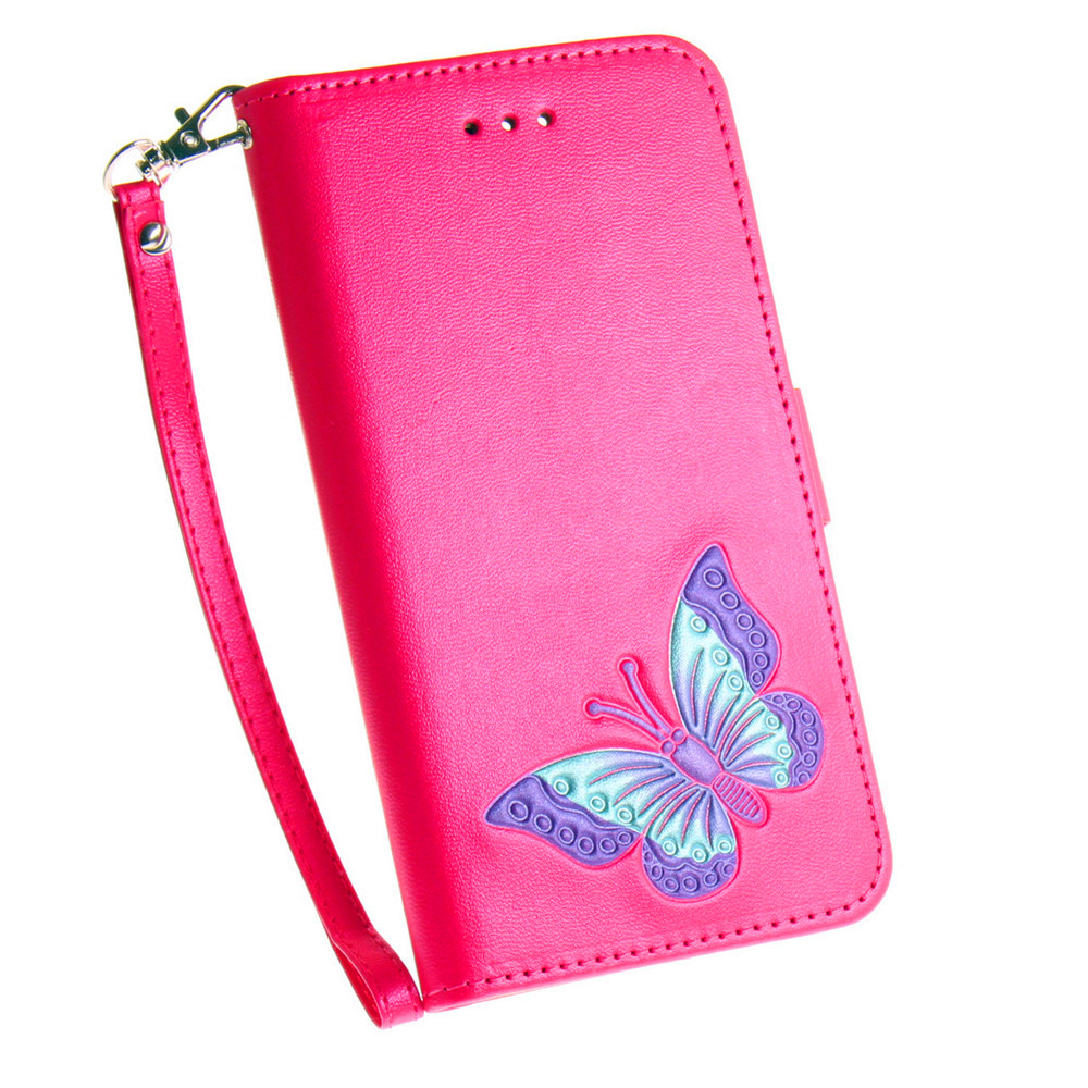 Hand-painted Butterfly Fashion Wallet Case For IPhone X Case PU luxury Flip Leather Case Phone Bag With Stand
