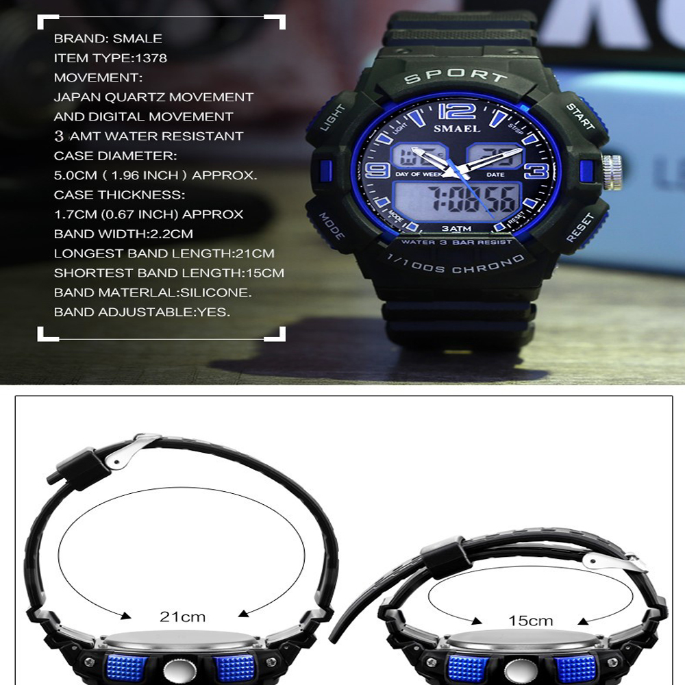 SMAEL 1378 Fashion Multi-function Waterproof Outdoor Electronic Watch
