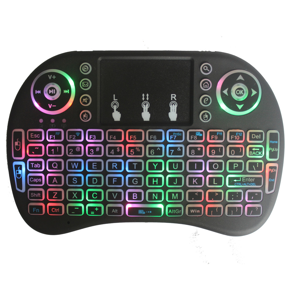 2018 New Colorful Backlight Cool I8 Wireless Keyboard Air Mouse 2.4Gwifi Ultra-Remote Control