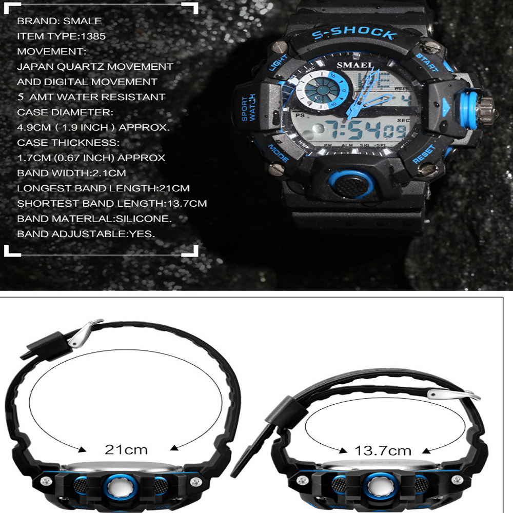 SMAEL 1385 Multi-function Durable Waterproof Electronic Outdoor Sport LED Watch