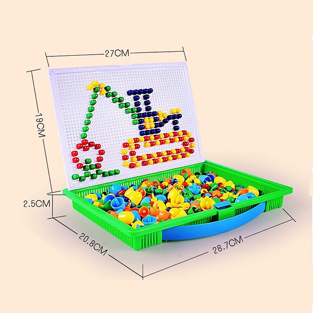 Colorful Mosaic Pegboard Nail Jigsaw Game Educational DIY Toys 296PCS