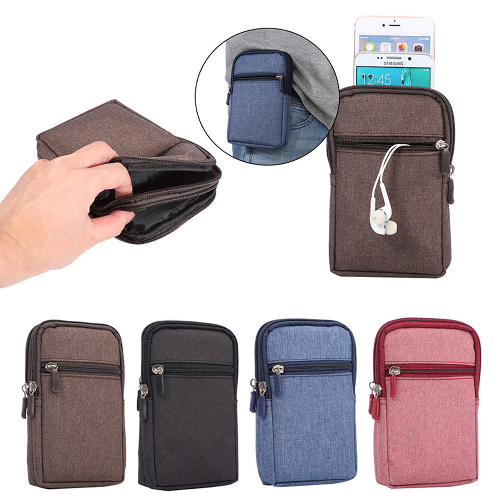 san francisco 88a57 08517 Universal Denim Leather Cell Phone Bag Belt Clip Pouch Waist Purse Case  Cover For All SmartPhone Below 6.3 Inch