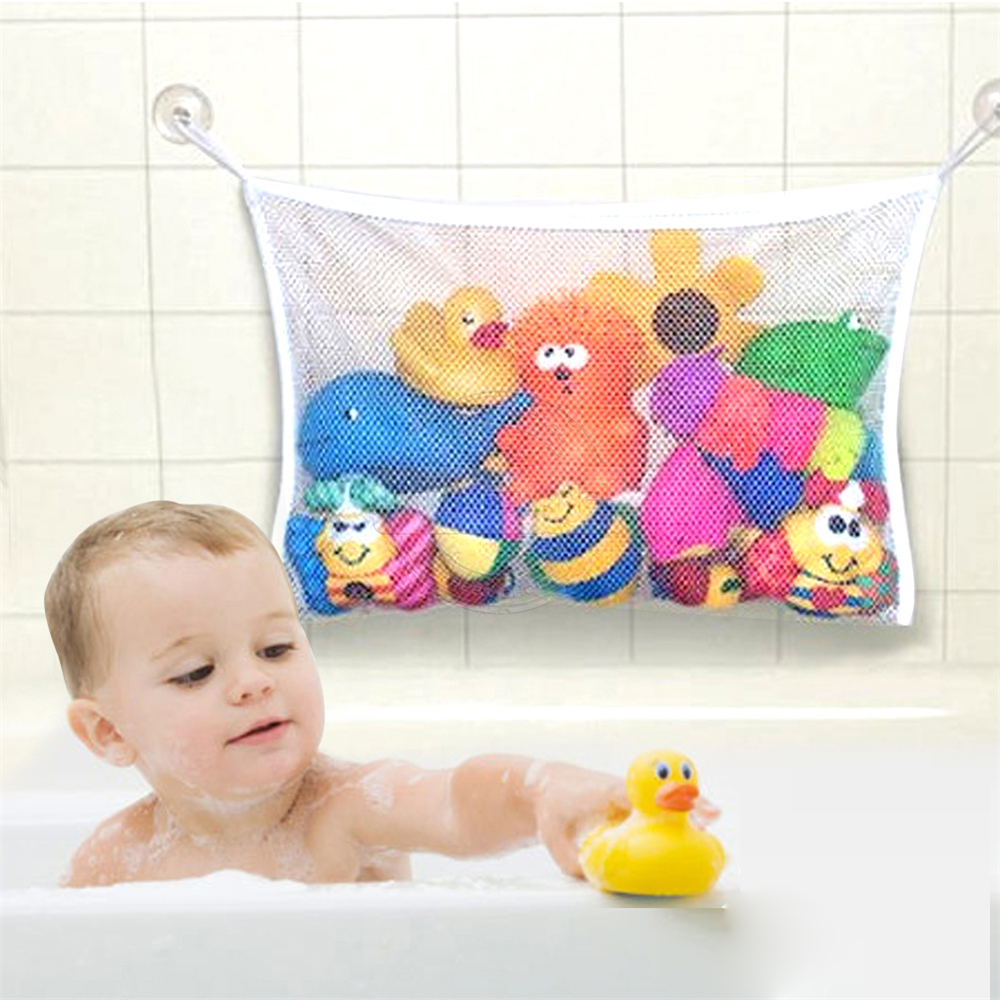 Folding Baby Bathroom Hanging Mesh Bath Toy Storage Bag Net Suction ...