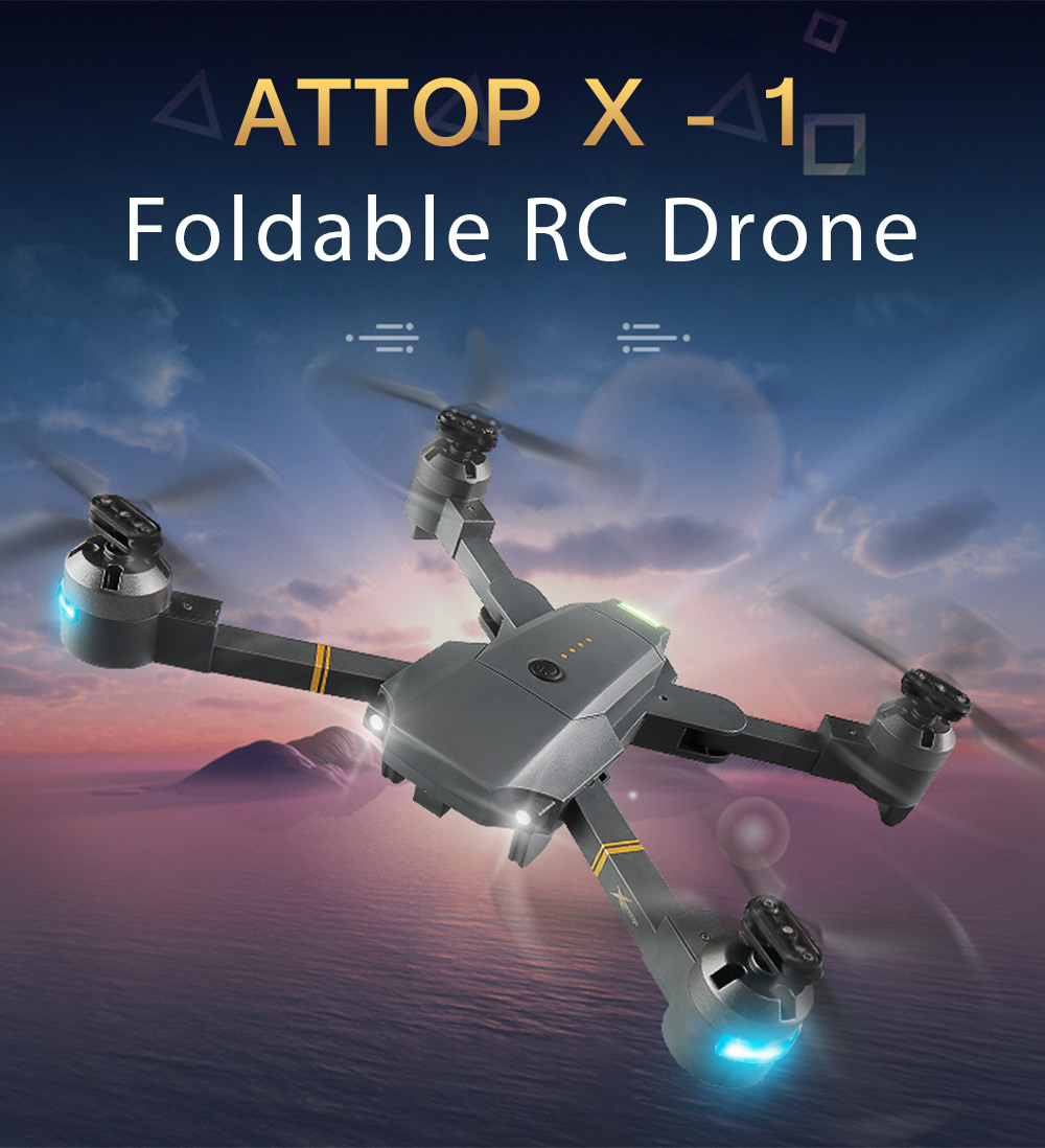 ATTOP XT - 1 Foldable RC Drone WiFi FPV Camera / Altitude Hold / Headless Mode / 360-degree Flip