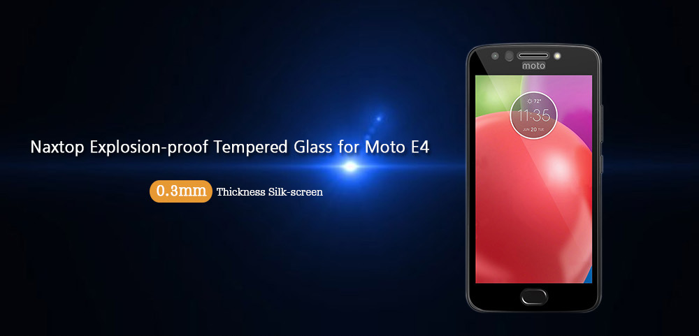 Naxtop 0.3mm Thickness Explosion-proof Silk-screen Full Tempered Glass for Moto E4