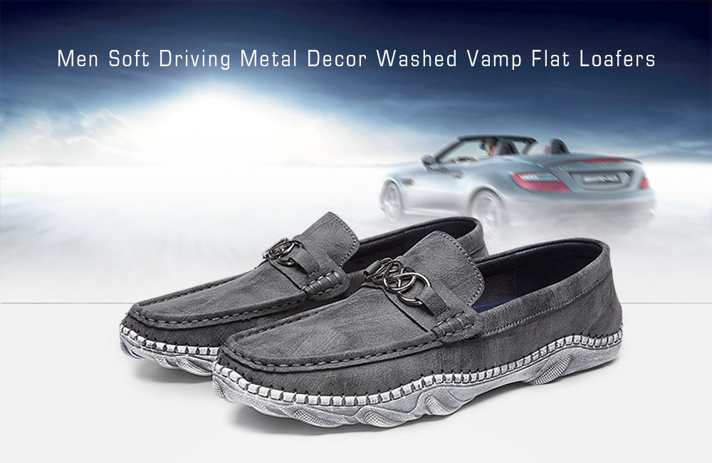 Leisure Soft Driving Metal Decor Washed Vamp Flat Loafers for Men