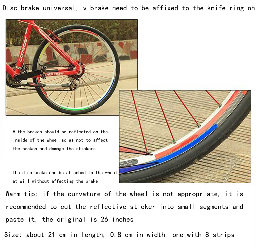 Bicycle tire reflective mountain bike wheel steel ring stickers hub decorative decals riding equipment accessories