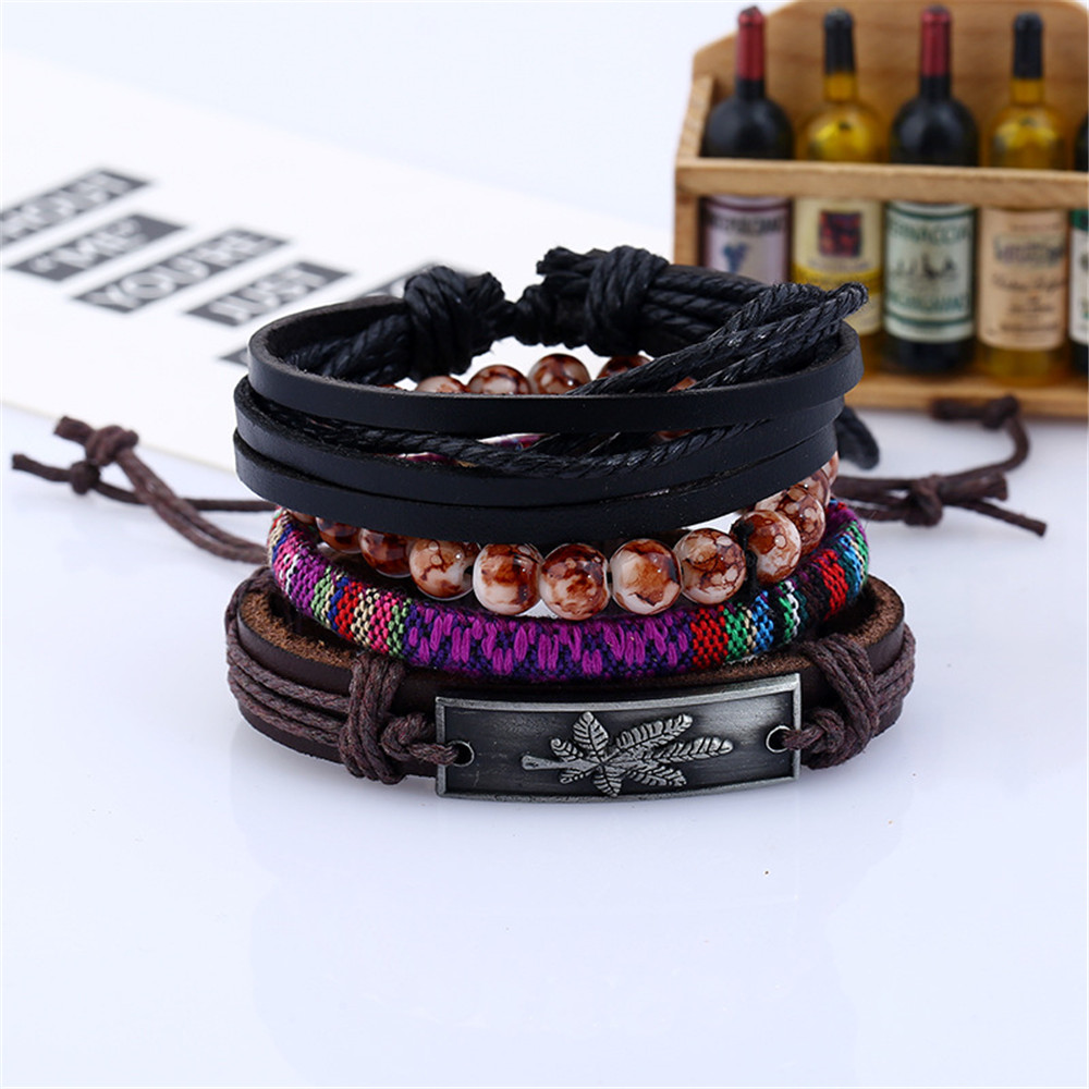 Knitted Maple Leaf Diy Men'S Leather Bracelet and Bangles Multi-Layer Suit Jewelry- BROWN AND BLACK