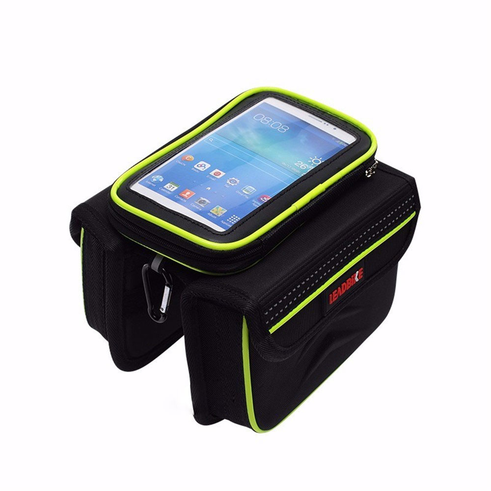 Bicycle Bag Top Front Frame Tube MTB Double Pouches mobile phone Touch screen