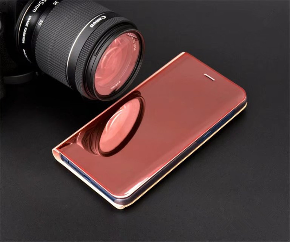 Cover Case for Samsung Galaxy A8 Plus 2018 / A7 2018 Mirror Flip Leather Clear View Window Smart