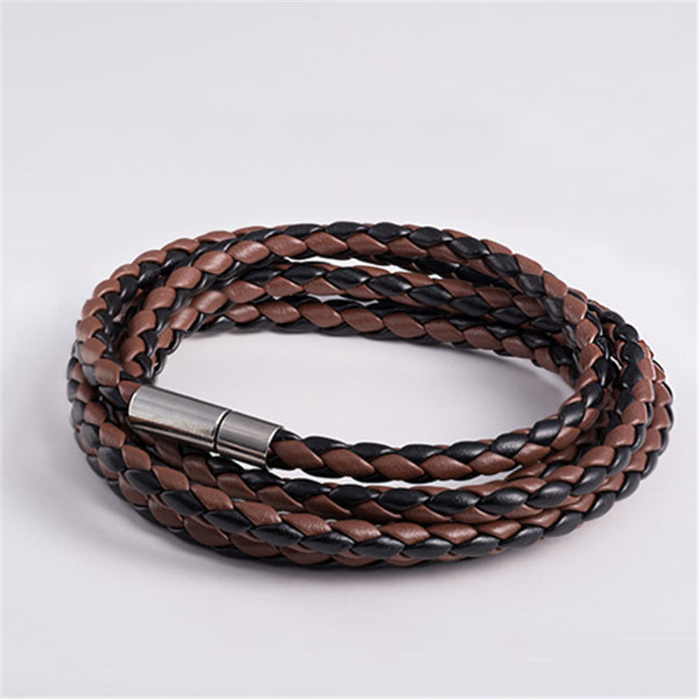 UK/_ Lady Fashion Brown Galaxy Multilayer Faux Leather Weave Bracelet Jewelry Fas