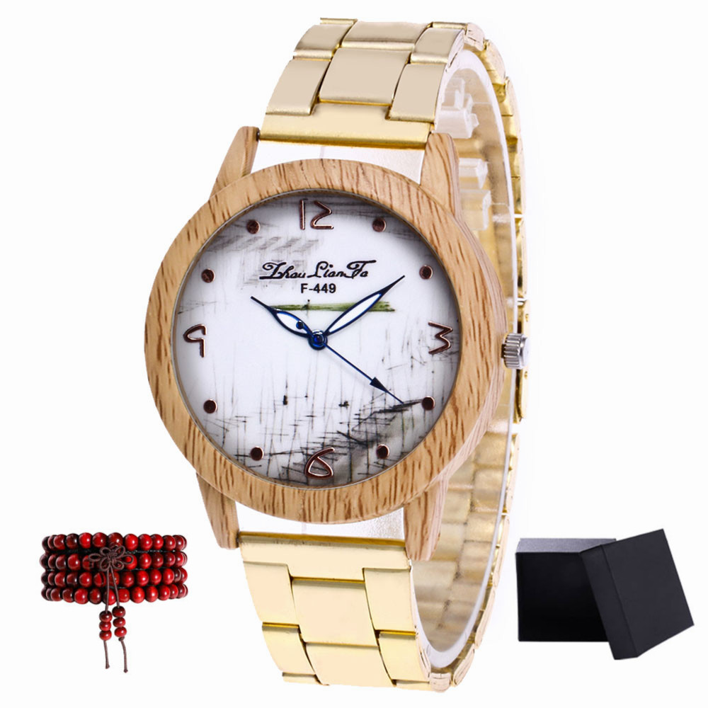 ZhouLianFa New Gold Band Grass Figure Quartz Watch with Gift Box and Beads