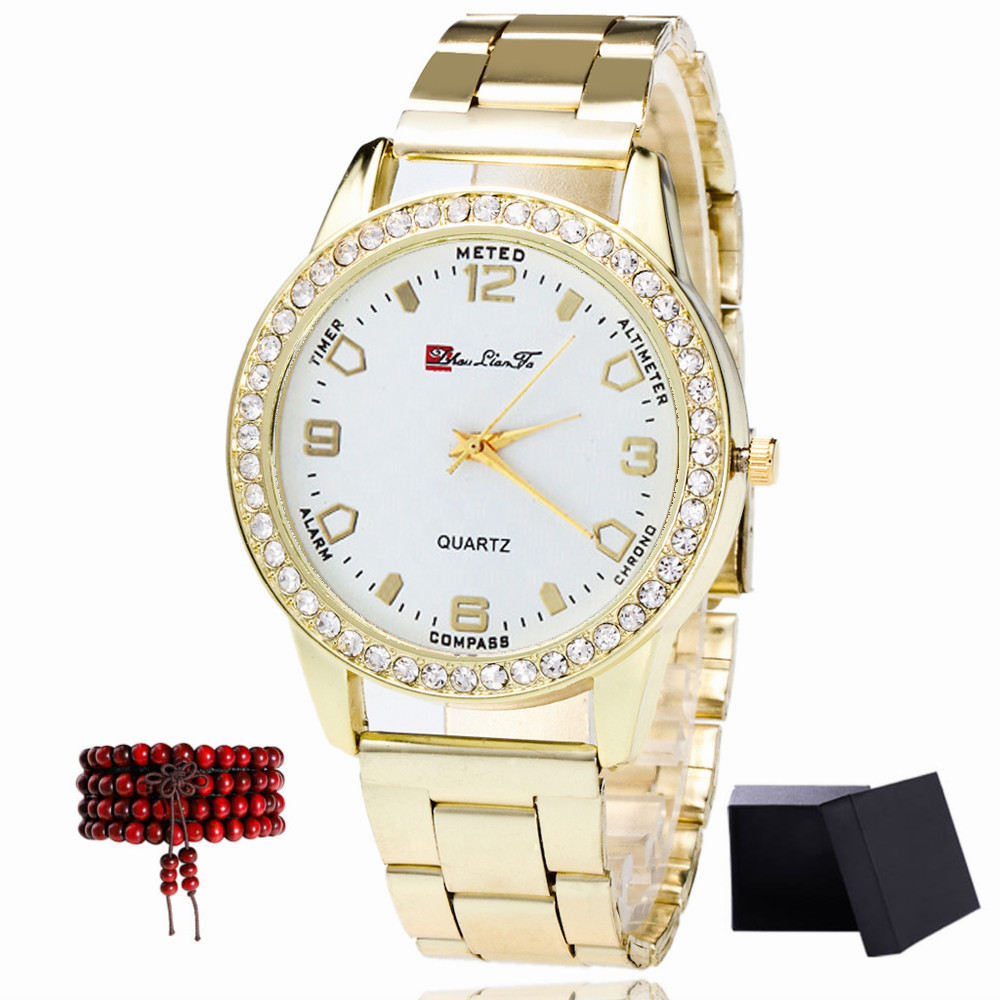 ZhouLianFa The New Brand of Gold Band Leisure Fashion Quartz Watch with Gift Box and Beads