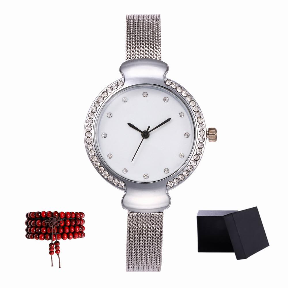 ZhouLianFa New Small Dial Steel Quartz Watch with Gift Box and Beads