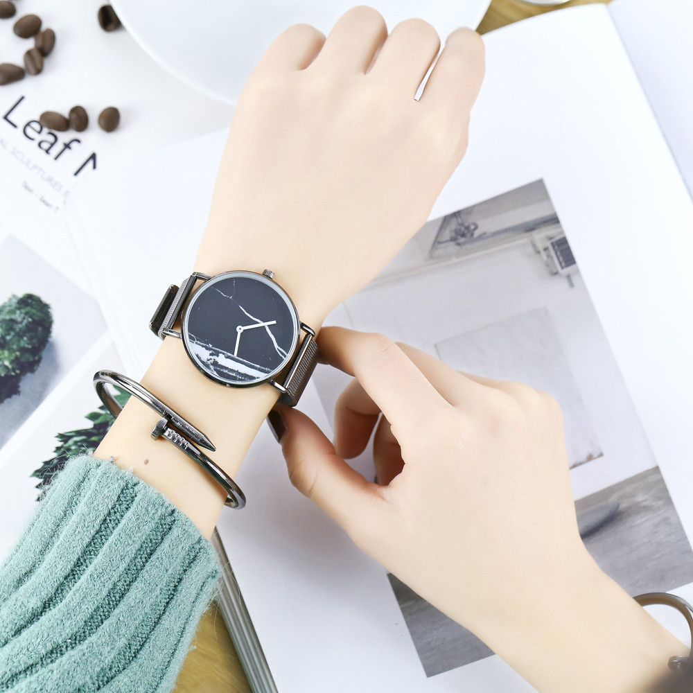 Kingou New Mesh with Marble Figure Quartz Watch with Gift Box and Beads