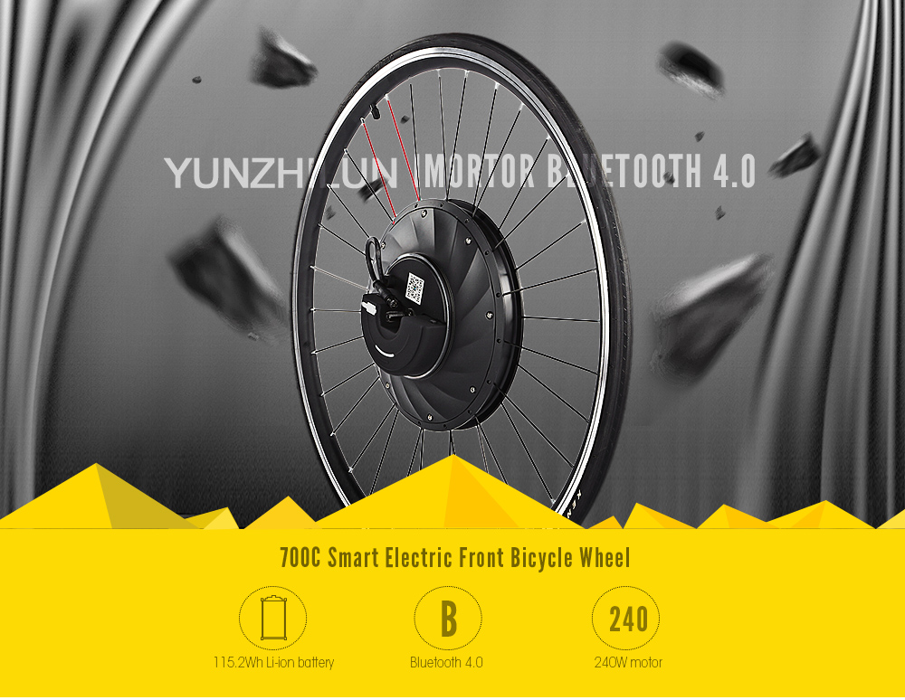 YUNZHILUN iMortor Bluetooth 4.0 700C Smart Electric Front Bicycle Wheel