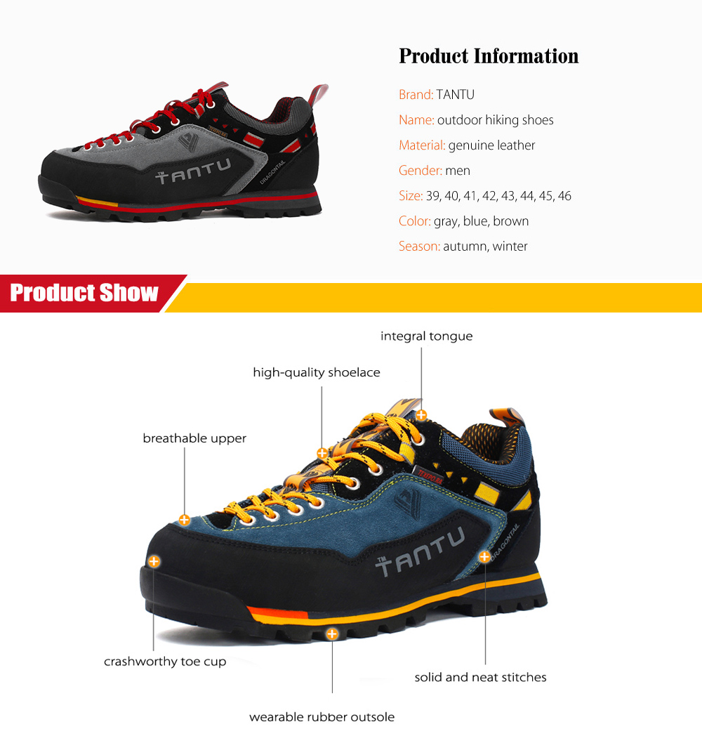 Package Contents 1 x Pair of TANTU Hiking Shoes