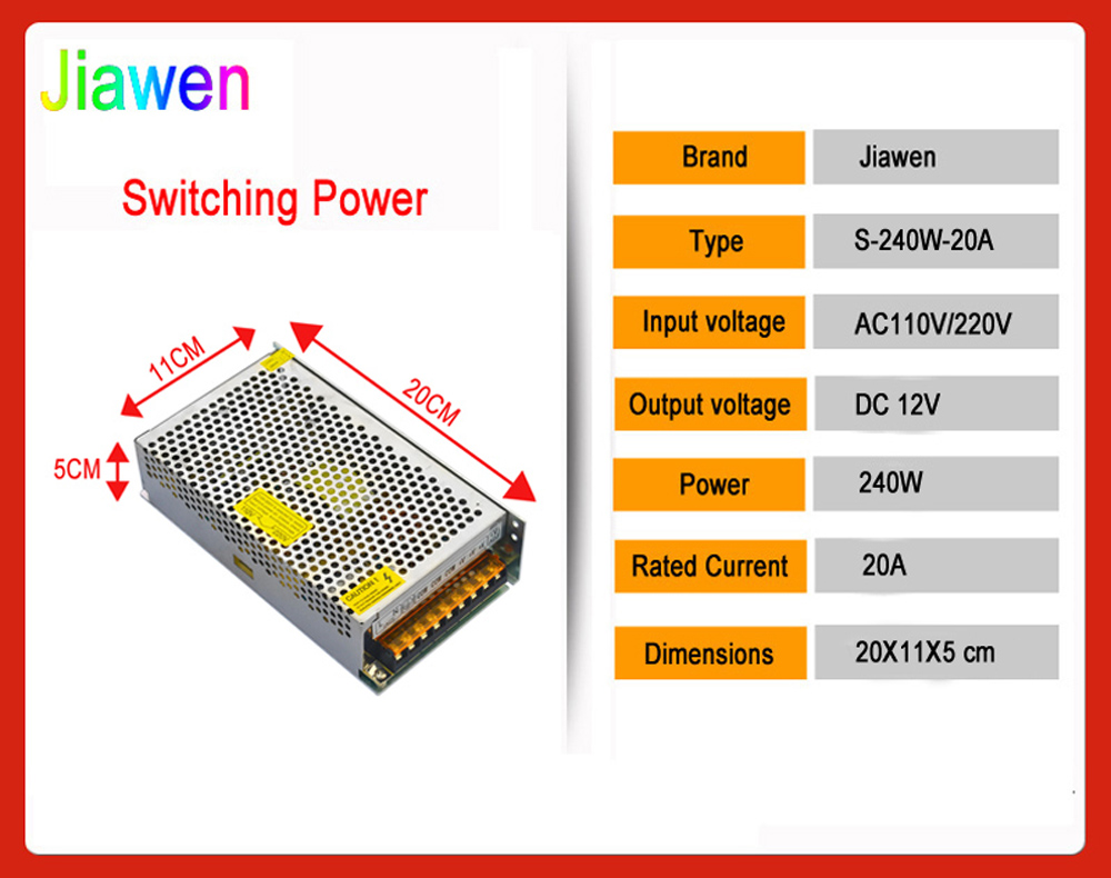 Jiawen 20a 240w Switching Power Supply Driver For Led Strip Ac 110 Smps 50 Watt Street Light Circuit Electronic 220v Input To
