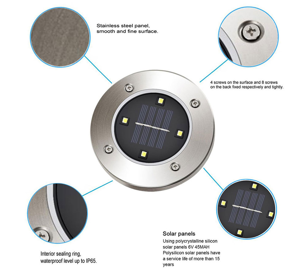 BRELONG 4LED Solar Buried Lights Outdoor Lawn Lamp 1PC