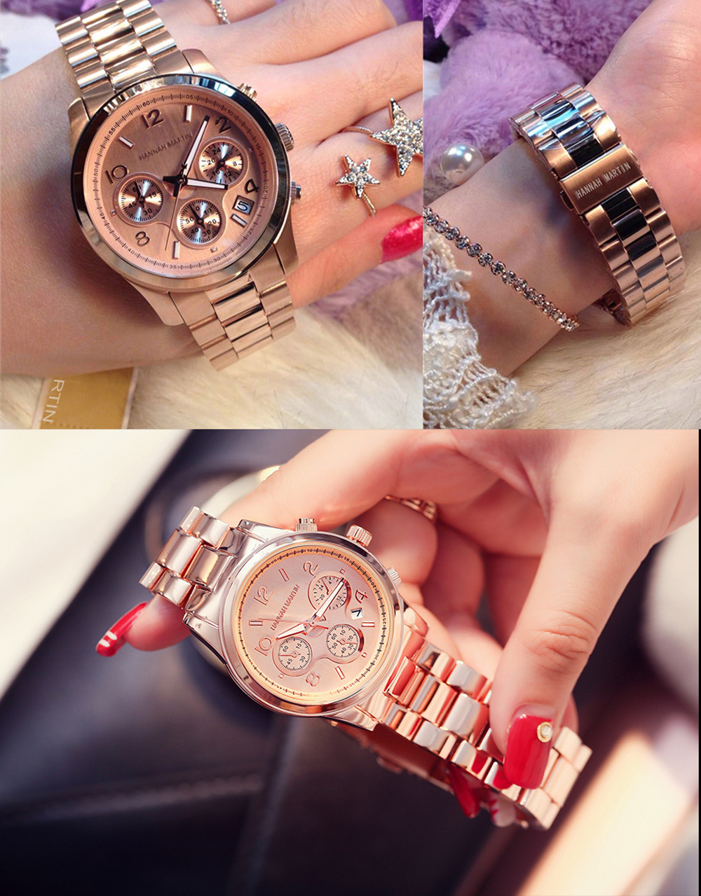 Women Business Fashion Stainless Steel Band Wrist Watch with Calendar