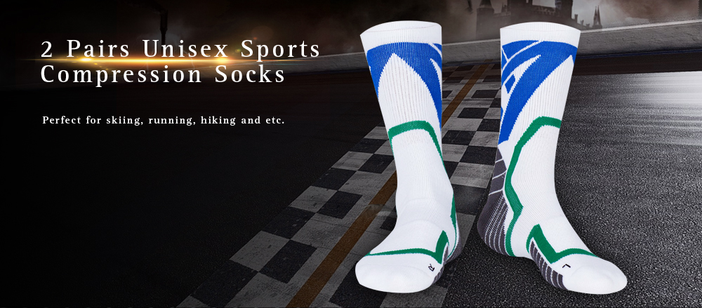 2 Pairs Unisex Sports Compression Socks for Running Athletic