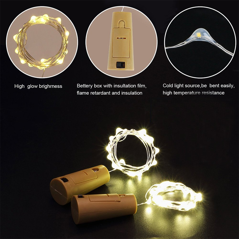 BRELONG 15LED Wine Stopper Brass Lights Decorative Light String 8PCS