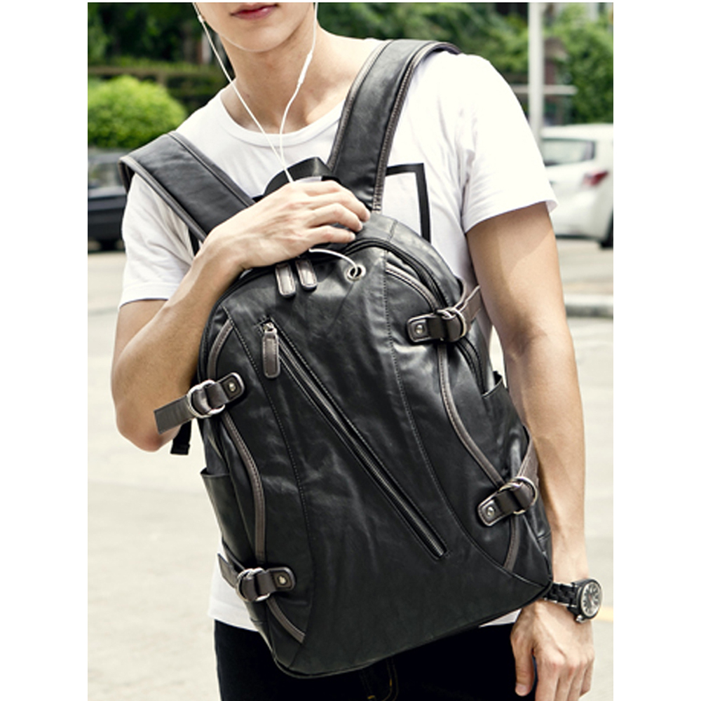 1Pc Leather Large-Capacity Backpack Soft PU Leather Women Bag